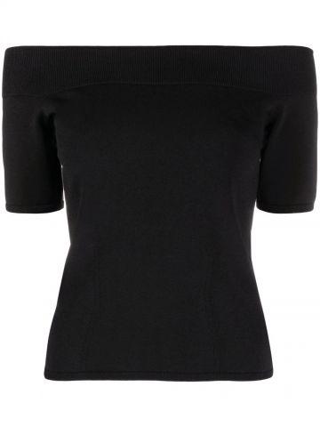 Black Off-The-Shoulder Knit Top