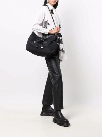 Black embroidered shoulder bag