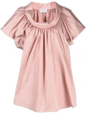Gathered puff-sleeve blouse