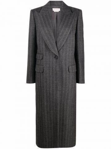 Gray single-breasted long coat