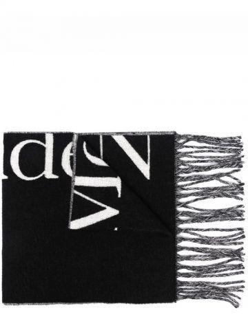 Sciarpa oversize nera con logo