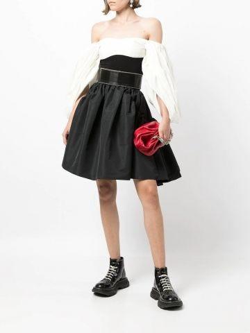 Black high waisted flared skirt