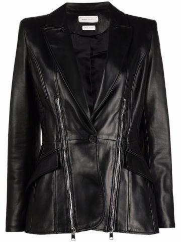 Black leather zip jacket