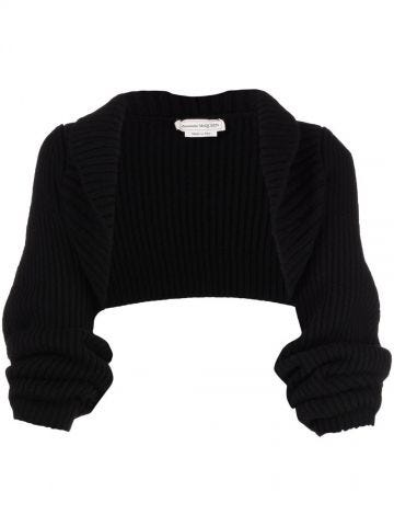 Black Rib Knit Wool Shrug cardigan