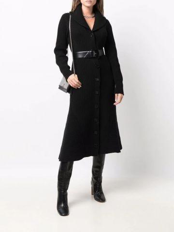 Black ribbed midi coat