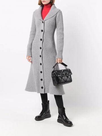Grey ribbed midi coat