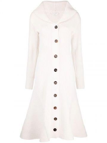 White ribbed flared dress