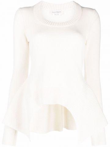 White knitted peplum pullover