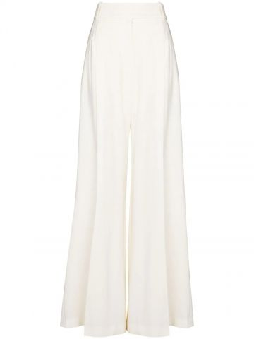 White high-rise wide-leg trousers