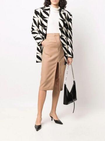 Beige front-slit wool pencil skirt