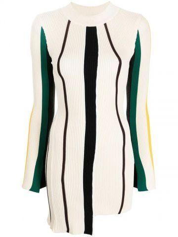 White vertical-stripe knitted top