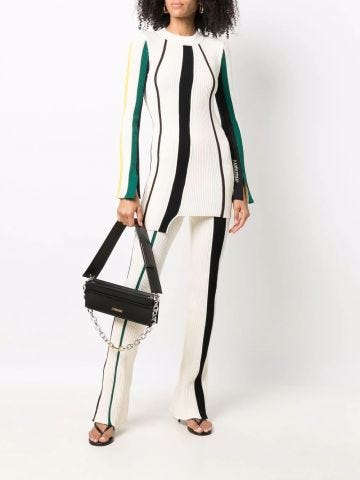 White ribbed stripe straight-leg trousers