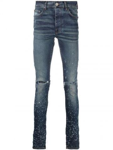 Shotgun distressed skinny jeans