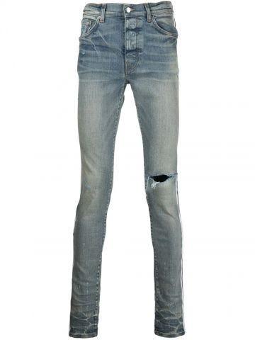 Blue distressed-effect side-stripe jeans