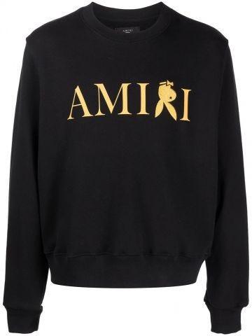 Black reverse bunny print sweatshirt