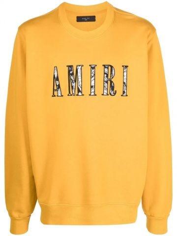 Yellow logo-print crew-neck sweatshirt