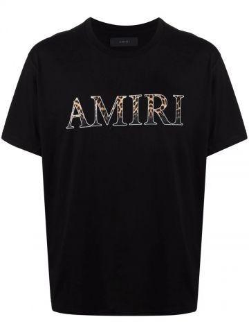 Black cotton T-shirt with animalier logo