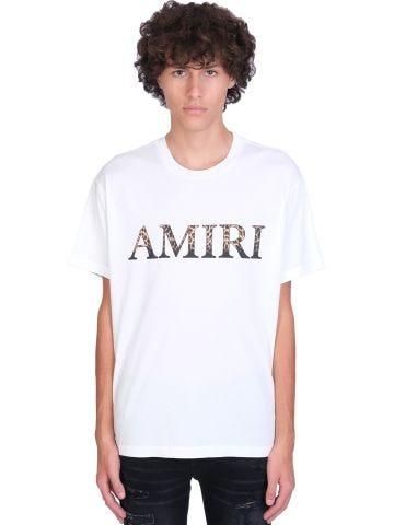 White cotton T-shirt with leopard logo print