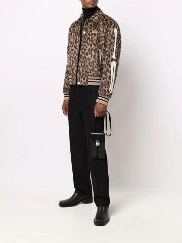 Brown embroidered logo leopard print bomber jacket