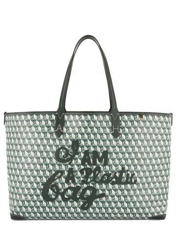 Borsa I Am a Plastic Bag Tote motif verde