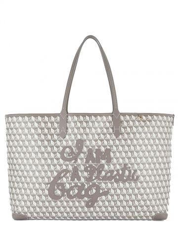 Borsa I Am a Plastic Bag Tote motif grigia