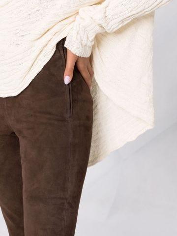 Leggings marroni in pelle scamosciata