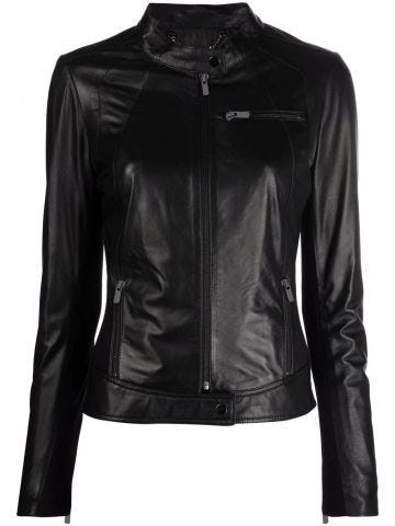 Black fitted leather jacket