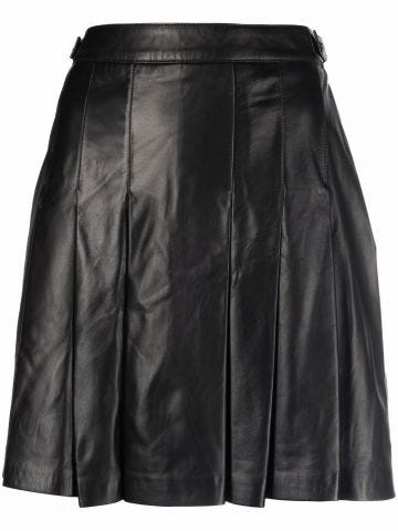 Black leather pleated miniskirt