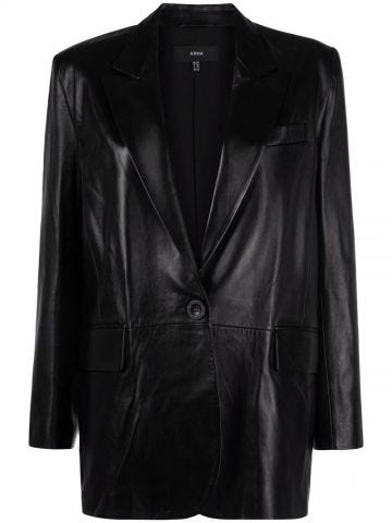 Single-breasted black leather blazer