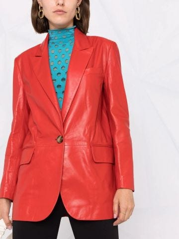 Red leather single-breasted jacket