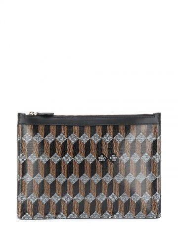 Brown monogram-print pouch