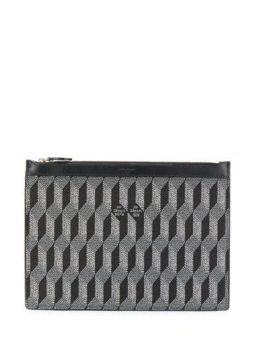 Black monogram-print pouch