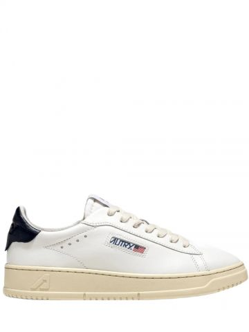 Low-top sneakers in white and blue leather