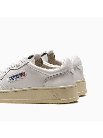 Low-top sneakers in white leather