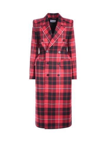 Cappotto doppiopetto in lana a quadri