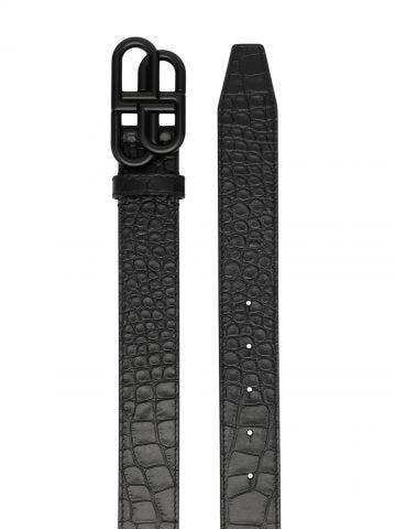 Black crocodile effect BB belt