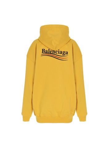 Yellow Political Campaign oversize cotton hooded sweatshirt