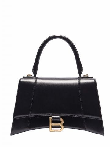 Hourglass Small Top Handle Bag in black