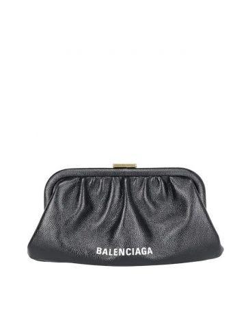 Clutch cloud XS in pelle nera
