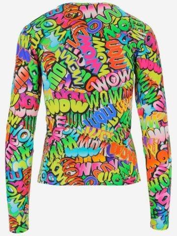 Multicoloured Wow print T-shirt
