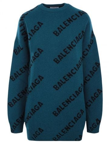Logo-detailed oversized green stretch wool sweater