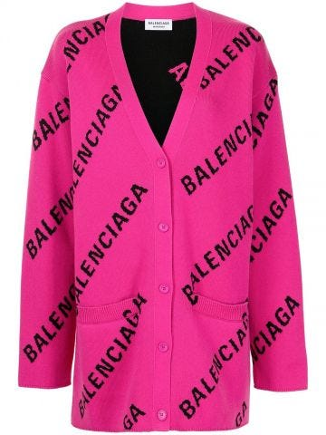Pink cardigan with logo