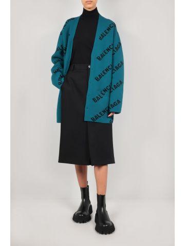 Green logo-detailed oversize cotton wool blend cardigan