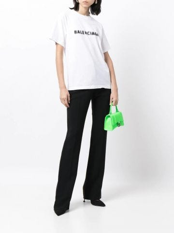 White fuzzy logo print T-shirt