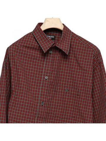 Red asymmetric button shirt
