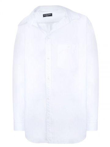 White off-the-shoulder poplin shirt