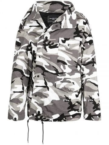 Parka Militare Off Shoulder in grigio