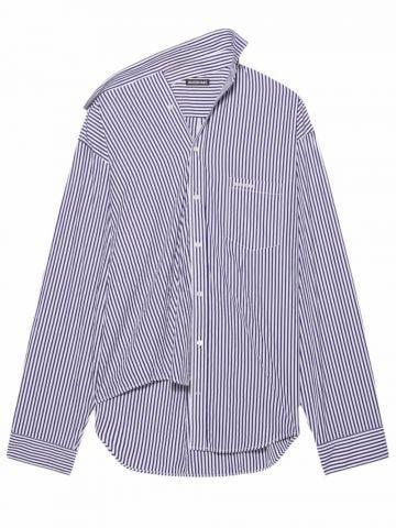 Twisted Shirt in blue striped poplin