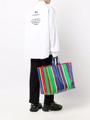 Barbes East-West multicolored striped shopper bag