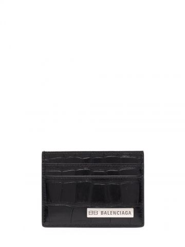 Black card holder with logo plaque